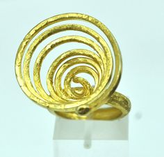 Spiral gold plated sterling silver ring gold by silverjewelrygr