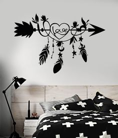 Vintage Bedroom Wall Decals Design Ideas To Wall Decals For Bedroom, Vinyl Wall Decals, Home Decor Bedroom, Decals For Walls, Bedroom Ideas, Bedroom Themes, Teen Bedroom, Vinyl Art, Diy Wand