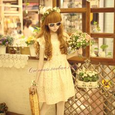 Sweet pastoral style special ● small floral Duolei Si Lace Princess cotton dress ● shopkeeper show the new 2012 - Taobao