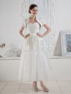 Vestido de novia blanco de tulle de línea A sin tirantes y con escote de corazón hasta la pantorrilla - Milanoo.com.   130€ el largo