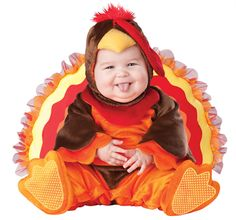 Baby in a turkey costume! I can't stop looking at it!