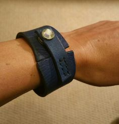#handmade Navy Leather cuff/ bracelet.made to order. Soft supple and individual