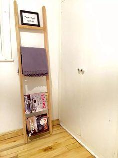 escalera perchero de madera decorativa toallero