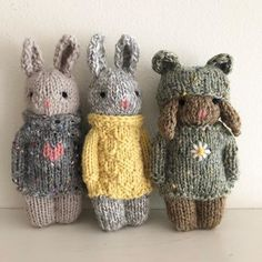 """🌷Six of my new kids🌷I call them """"cool kids"""" because they were inspired by 🌷 (All six of theses kids have been sold to… Knitted Bunnies, Knitted Animals, Knitted Dolls, Knitting Designs, Knitting Projects, Crochet Projects, Knitting Patterns, Knitting For Kids, Baby Knitting"""