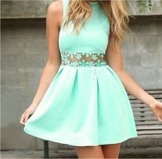Sweet lace high-necked sleeveless green dress WE5407PO