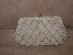Vintage ivory Beaded Clutch Purse