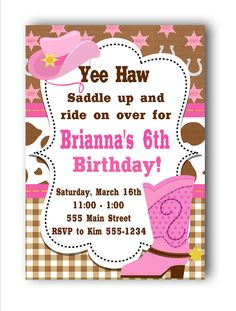 Cowgirl Birthday Invitations by PartyConfettiDesigns on Etsy8.00