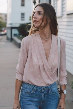 blush wrap blouse paige straight leg jeans ann taylor heels prosecco and plaid-7