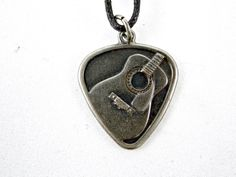 """Acoustic Guitar Pick Necklace in Alloy Metal with a 24"""" Adjustable Wax Cord"""