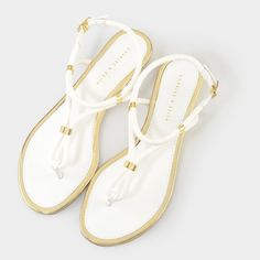 0291058333953 Rope Strap Sandals - White - Flats - Shoes