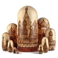 This high quality wood-burned nesting doll from Russia features outstanding depictions of Russian churches. St Basils Cathedral, The Transfiguration, Russian Architecture, Russian Folk Art, Unusual Animals, Thomas The Tank, Matryoshka Doll, Hanging Tapestry, Animal Design