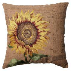 Pillow Perfect Sunflower Burlap Throw Pillow - Tan (16.5)