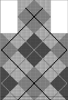 Argyle Chart-- 2 stitch sides and top/bottom, contiguous         The question is how many stitches to go down to at the side and end points of the diamond and how many, if any to put between diamonds.