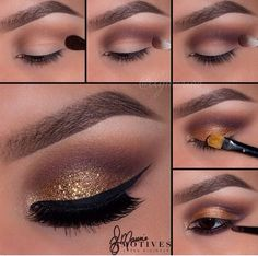 Neutral lid with gold glitter