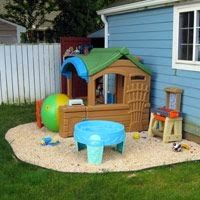 Kid's play area, we have a play area in our back yard. It is soooo nice because we don't have to move toys when we want to mow!...