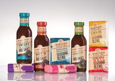 Denny Mike's BBQ sauces & seasonings range #packaging #labels #woodgrain