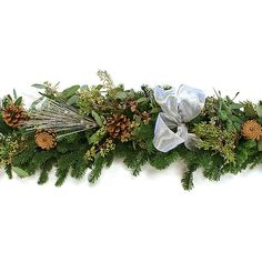 6' Glittered Pine Garland Dried Mantelpieces Garlands & Swag (115 CAD) ❤ liked on Polyvore featuring home, home decor, holiday decorations, christmas, decorative accessories, pine cone home decor, floral home decor, christmas home decor, christmas holiday decorations and christmas holiday decor