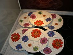 6 x Villeroy & Boch fondue sectioned party plate / Acapulco era 70s Flower Power