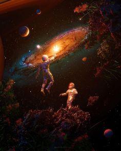 Moon Painting, Galaxy Painting, Galaxy Art, Wallpaper Aesthetic, Aesthetic Art, Fuerza Natural, Space Artwork, Psy Art, Weird Art