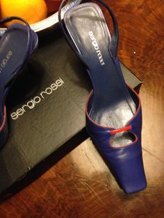 #SergioRossi #cobaltblueheels and coral leather shoes
