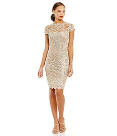 Tadashi Shoji Illusion Neck Sequin Lace Dress #Dillards DILLARDS $251