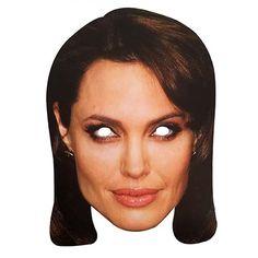 """Laadukas ja täysin aidon näköinen valokuvasta tehty pahvinen muotoon leikattu """"Angelina Jolie"""" naamio silmäaukoilla ja joustavalla kiinnitysnarulla. Koko noin 28cm x 20cm. Järjestä kunnon julkkisbileet ja hommaa naamarit kaikille!"""