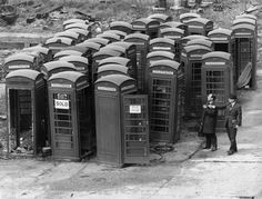 The General Post Office sells off old telephone boxes at its Dagenham depot. 1960
