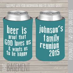 family reunion coozies can coolies beverage by zbasement on Etsy