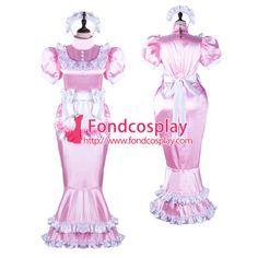 Sissy maid satin dress lockable Uniform cosplay costume Tailor-made[G2361]