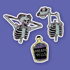 Spooky sticker set/Weird random funny stickers/Skeleton and mean pills stickers/Sticker set - Thanksgiving Wallpaper Cool Stickers, Funny Stickers, Laptop Stickers, Halloween Sweatshirt, Snapchat Stickers, Scary Costumes, Skull Shirts, Aesthetic Stickers, Aesthetic Grunge
