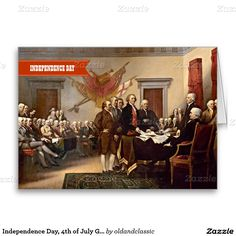 """Independence Day, 4th of July Fine Art Business / Corporate Customizable Greeting Cards. """"Declaration of Independence"""", oil on canvas, circa 1819. Artist: John Trumbull (1756–1843). Matching cards, postage stamps and gift products available in the oldandclassic store at zazzle.com"""