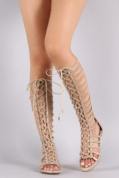 Bamboo Shimmer Strappy Studded Lace-Up Gladiator Sandal #GladiatorSandals