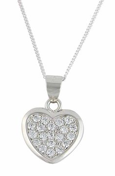 Rhodium Plated Sterling Silver Heart Necklace 6c9d94dfb