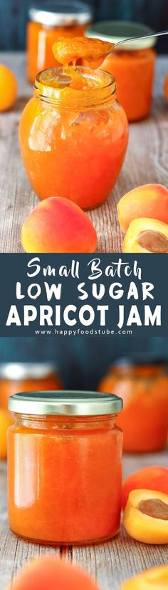 This small batch low sugar apricot jam is made from scratch and is pectin free. Use it as apricot glaze on cakes or simply spread on toast. Homemade apricot preserves recipe. How to make low sugar apricot jam via @happyfoodstube