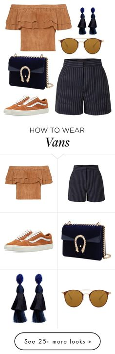 """smer"" by eboony800 on Polyvore featuring LE3NO, Vans, Ray-Ban and Oscar de la Renta"