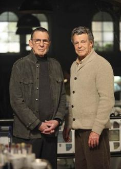 Leonard Nimoy and John Noble as William Bell and Walter Bishop on Fringe