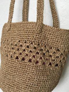 《受注製作》simple shoulder basket bag 〜beige color〜 Crotchet Bags, Basket Bag, Beige Color, Crochet Flowers, Straw Bag, Diy And Crafts, Sewing, Knitting, Shoulder