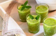 Grön vitaminshot med ingefära Fresh Rolls, Cantaloupe, Smoothies, Healthy Eating, Milkshakes, Fruit, Ethnic Recipes, Food, Shots