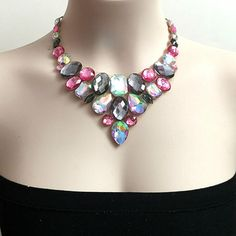 Pink, aurora borealis and grey rhinestone bib necklace