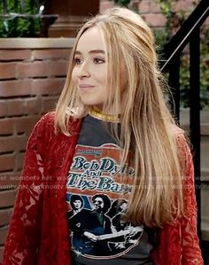 Maya's Bob Dylan and the Band t-shirt and red lace coat on Girl Meets World. Outfit Details: https://wornontv.net/59308/ #GirlMeetsWorld