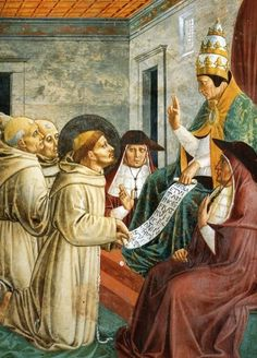 BENOZZO GOZZOLI (1421 - 1497) - St. Francis of Assisi - Dream of Innocent III and the Confirmation of the Rule (detail). 1452. Fresco. 304 x 220 cm. San Francesco, Montefalco, Italy.