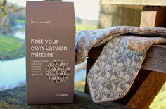 Latvian Mitten DIY Knitting Kit White and Grey. $29.00, via Etsy.