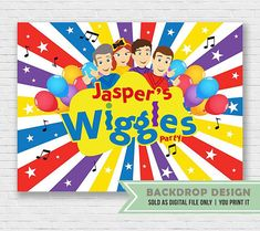 The Wiggles Show Party Backdrop // Birthday Backdrop //