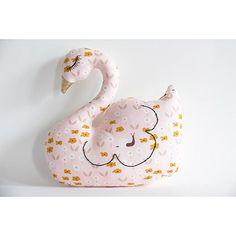Doudou décoratif cygne tissu géométrique enfant bébé pois