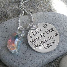 THE MOON and BACK hand stamped silver jewelry by ChristinaGuenther, $38.00
