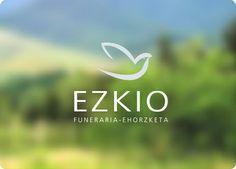 EZKIO: Imagen corporativa para empresa funeraria. El logo se basa en la forma de una paloma, símbolo universal de la paz, hecha en un único trazo que dibuja su contorno con delicadeza.