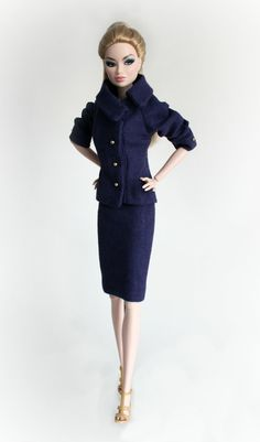 Navy Blue Suit for Barbie Silkstone Fashion by ChicBarbieDesigns