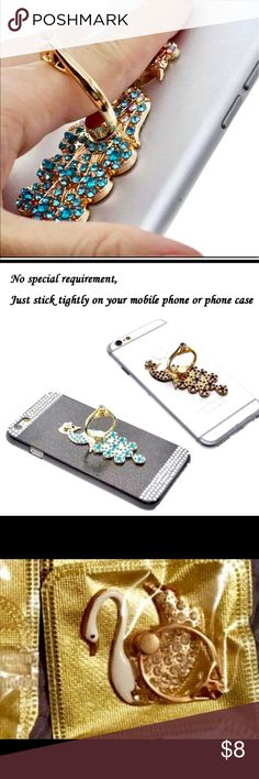 💎💍Bling Ring For Any Smartphone💍💎Swan💎 💍 NWT 💎 Not only looks great but functional! 💍 Helps hold your phone steady when taking pictures 📱💎 Comfortable when texting 💎 🦋 Bundle with Magic Lipstick 💄 and offer $12!! 💄💍🤠  This listing is for pretty swan 🤠 Accessories Phone Cases