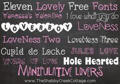 11 free Valentine Fonts via The Shabby Creek Cottage