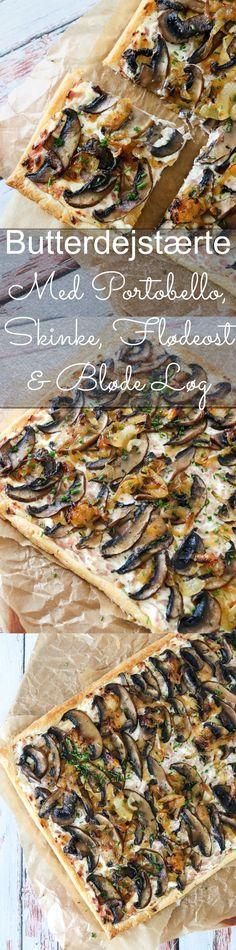 En rigtig lækker butterdejstærte med skinke, flødeost, bløde løg og portobellosvampe. Hvad er der ikke at elske? Tærten er fantastisk både varm og kold, så den er velegnet til aftensmad, frokost, madpakke og picnic! Nyd den med en lækker salat til. Butterdejstærten er faktisk også god som forret. Den er også frysevenlig, så den kan laves i god tid. #Butterdej #Tærte #Flødeost #Aftensmad #Frokost #Portobello #Skinke Portobello, Dessert Recipes, Desserts, Sugar And Spice, Cheesesteak, Tapas, Cheddar, Vegetable Pizza, Foodies